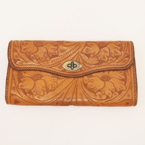 Large Handmade Tooled Leather Embossed Clutch Bag